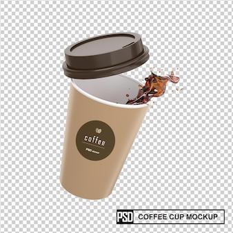 Modelo de copo de papel para xícara de café com respingo de líquido de café