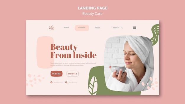 Modelo de cuidados de beleza da página de destino