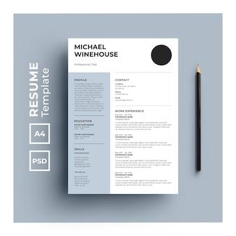 Modelo de currículo com design minimalista
