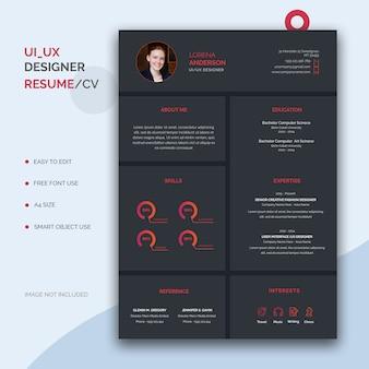 Modelo de currículo de designer de interface do usuário / ux