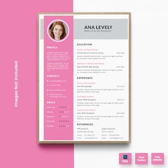 Modelo de currículo elegante rosa currículo