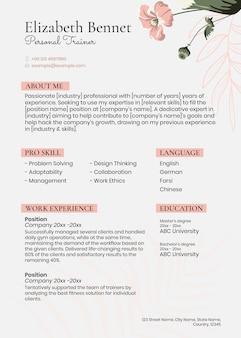 Modelo de currículo em pastel feminino psd em estilo floral