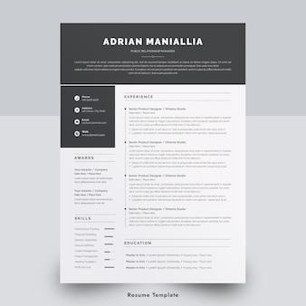 Modelo de currículo mínimo de uma página no word