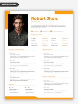 Modelo de currículo moderno profissional amarelo cv