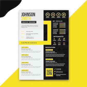 Modelo de currículo profissional amarelo