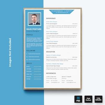Modelo de currículo profissional de currículo azul