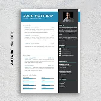Modelo de currículo profissional minimalista, azul e preto