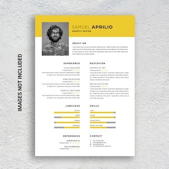 Modelo de currículo profissional minimalista cv, amarelo e preto