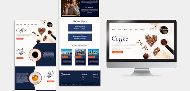 Modelo de design com o conceito de negócio de café