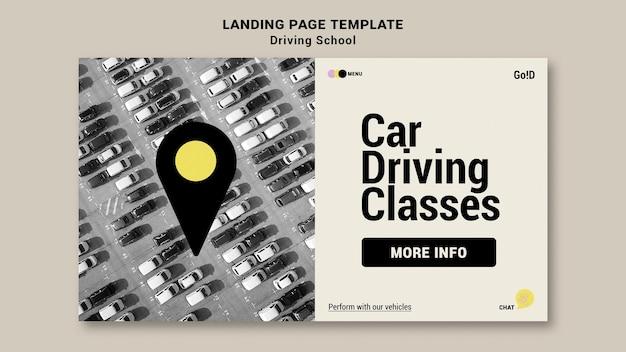 Modelo de design da página de destino da escola de condução