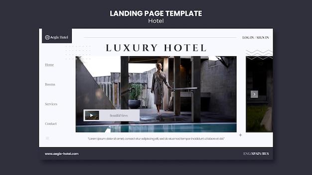 Modelo de design da página de destino do hotel