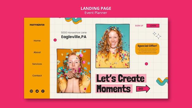 Modelo de design da página de destino do planejador de eventos