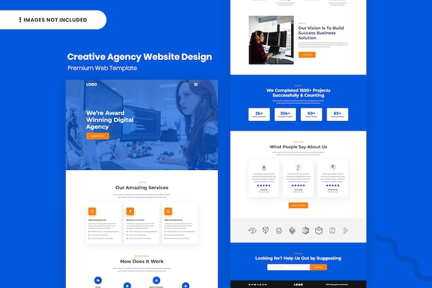 Modelo de design da página do site da agência criativa