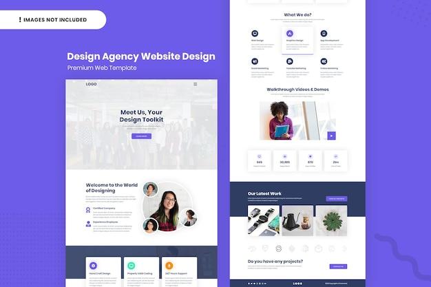 Modelo de design da página do site da agência de design