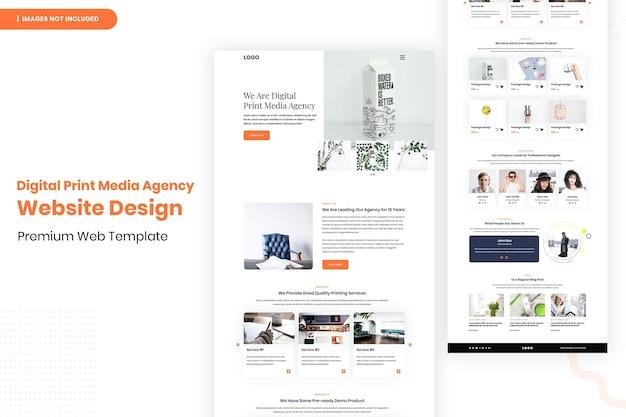 Modelo de design da página do site da agência de mídia impressa digital
