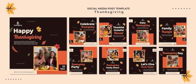 Modelo de design de ação de graças de postagem em mídia social