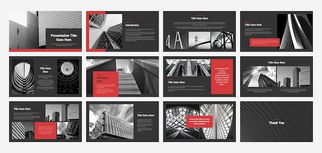 Modelo de design de apresentação em preto escuro e vermelho