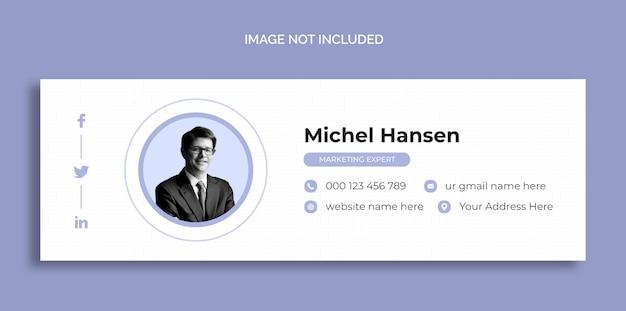 Modelo de design de assinatura de email ou modelo de capa de mídia social pessoal