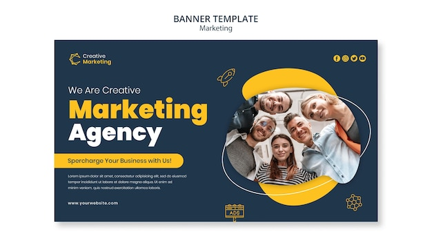 Modelo de design de banner com agência de marketing