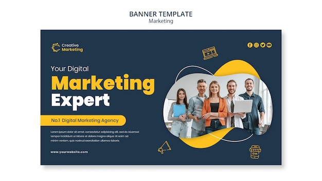 Modelo de design de banner com especialista em marketing