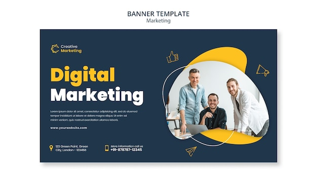 Modelo de design de banner com marketing digital