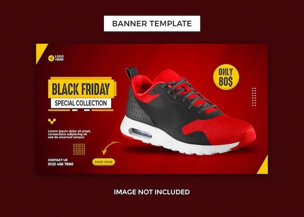 Modelo de design de banner da web para tênis esportivos na sexta-feira preta