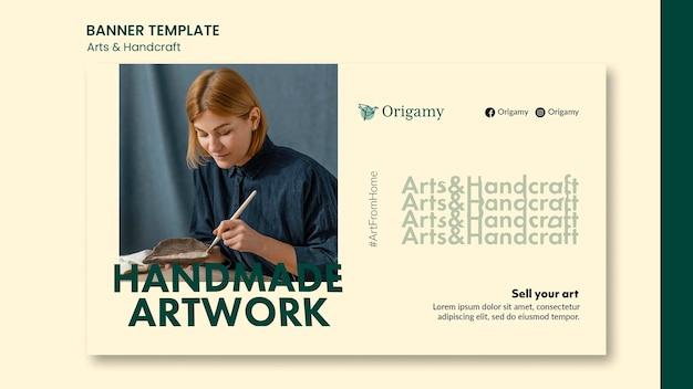 Modelo de design de banner de arte e artesanato