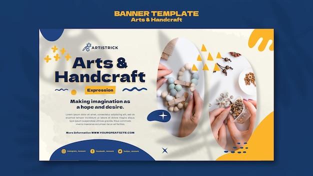 Modelo de design de banner de artes e artesanato