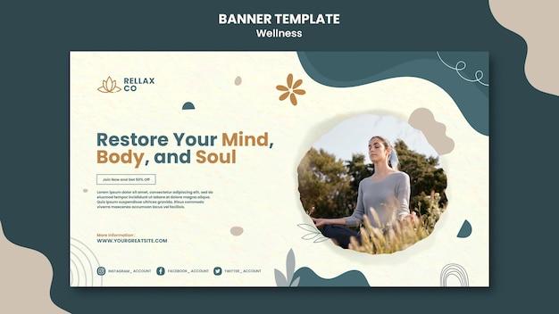 Modelo de design de banner de bem-estar