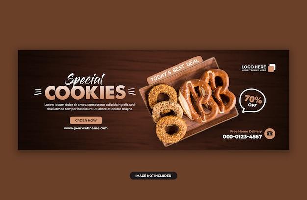 Modelo de design de banner de capa de facebook de venda de cookies