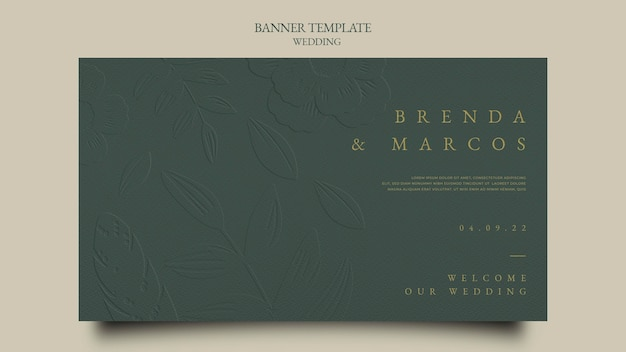 Modelo de design de banner de casamento