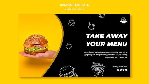 Modelo de design de banner de comida americana