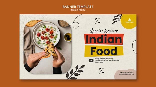 Modelo de design de banner de comida indiana
