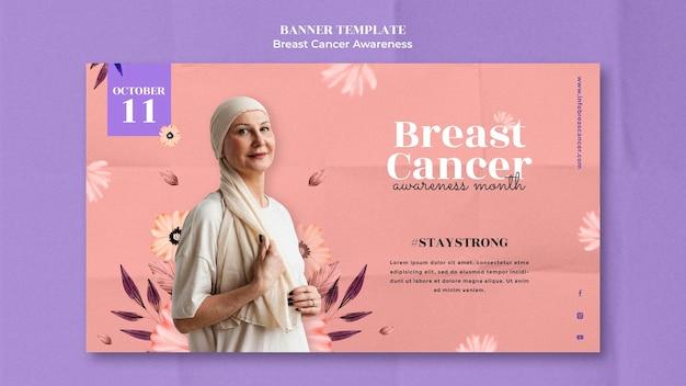 Modelo de design de banner de conscientização sobre câncer de mama