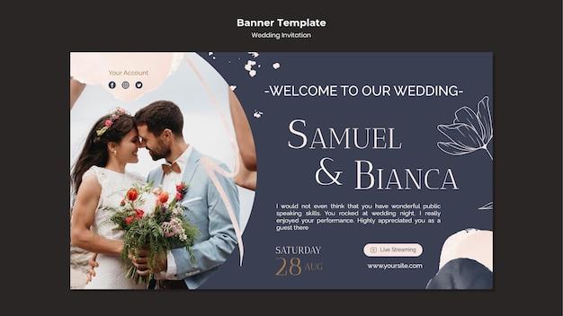 Modelo de design de banner de convite de casamento
