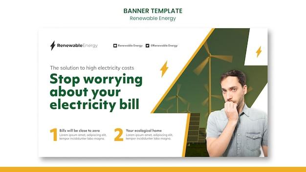 Modelo de design de banner de energia renovável