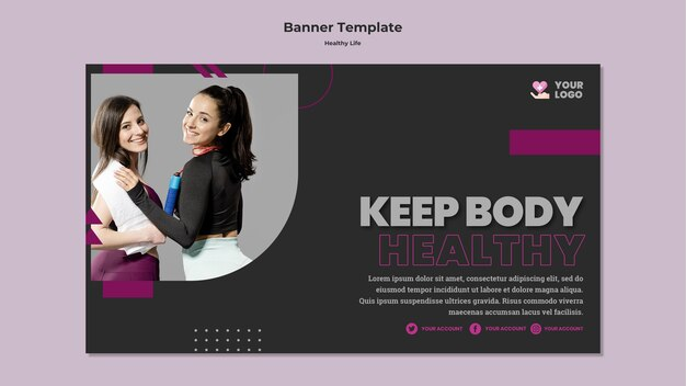 Modelo de design de banner de estilo de vida saudável
