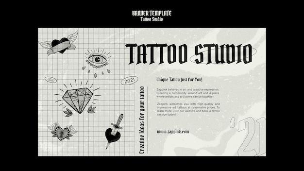Modelo de design de banner de estúdio de tatuagem
