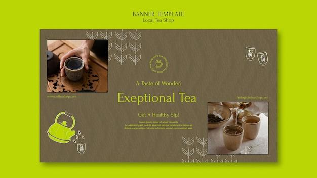 Modelo de design de banner de loja de chá local