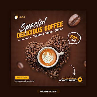 Modelo de design de banner de mídia social de venda de café
