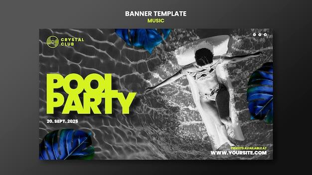 Modelo de design de banner de música para festa na piscina