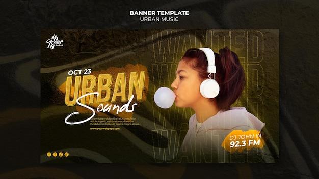Modelo de design de banner de música urbana