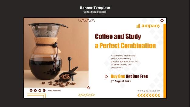Modelo de design de banner de negócios para cafeteria