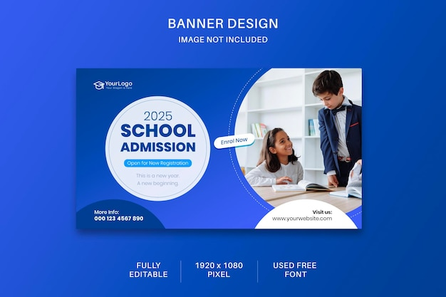 Modelo de design de banner de postagem de mídia social para admissão escolar