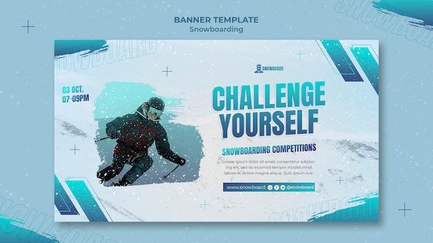 Modelo de design de banner de snowboard