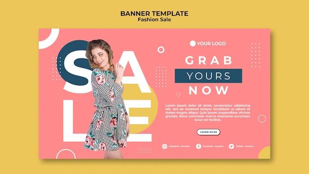 Modelo de design de banner de venda de moda