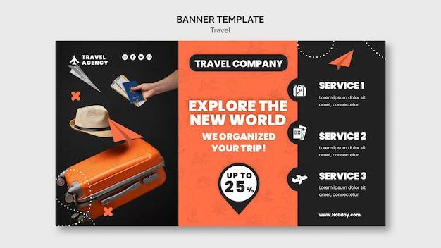 Modelo de design de banner de viagem