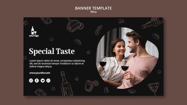 Modelo de design de banner de vinho