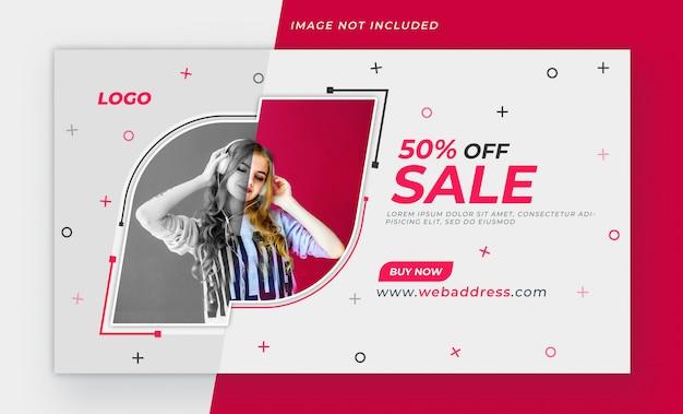 Modelo de design de banner de web de venda de moda