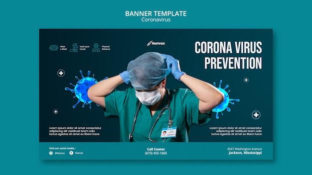 Modelo de design de banner do coronavirus